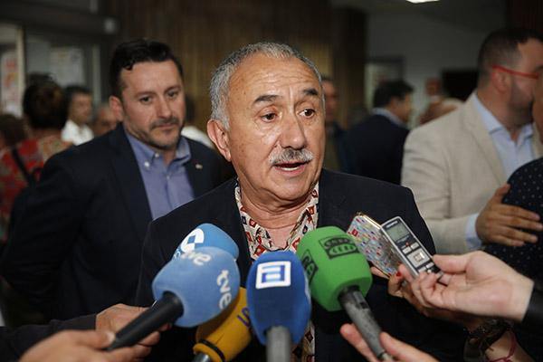 Álvarez, de UGT, durante una comparecencia meses atrás. Foto: Europa Press.