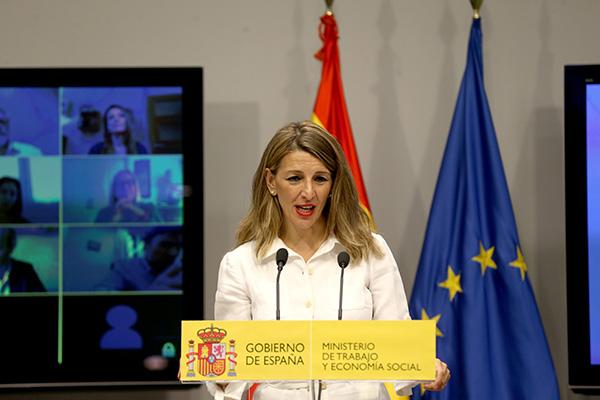 La ministra de Trabajo y Economía Social, Yolanda Díaz, en una comparecencia reciente. Foto: Europa Press.