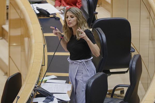 Yolanda Díaz, ministra de Trabajo, durante una comparecencia reciente en el Senado. Foto: Europa Press.