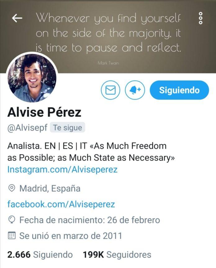Vista del perfil de Alvise Pérez en Twitter.