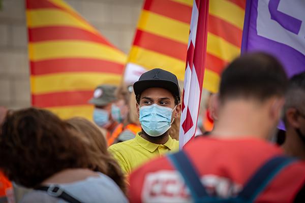 Concentración de trabajadores de empresas proveedoras y auxiliares de Nissan. Foto: Europa Press.