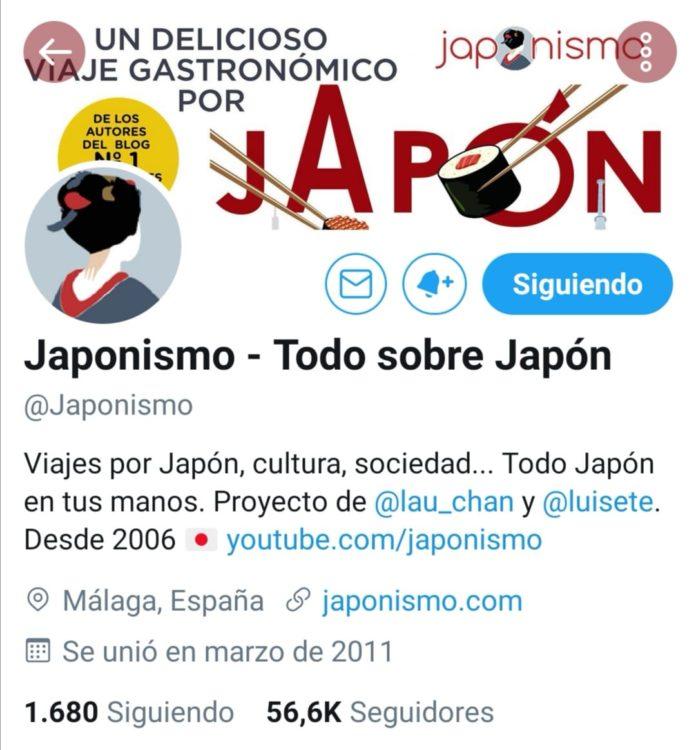 Perfil de @japonismo en Twitter.