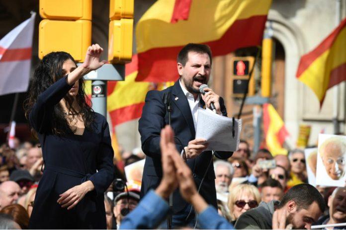 Miguel Martínez Velasco en una manifestación organizada por la Plataforma Tabarnia.