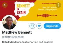 Vista del perfil de Twitter del periodista Matthew Bennet.