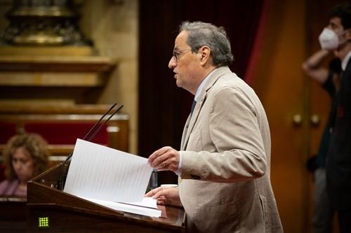 Quim Torra, durante la sesión de ayer en el Parlament. Foto: Europa Press.