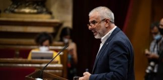 Carlos Carrizosa durante su intervención en el Parlament (Europa Press).