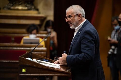 Carlos Carrizosa durante su intervención en el Parlament (Europa Press).