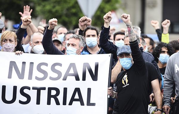 Trabajadores de Nissan en Catalua durante una concentración reciente. Foto: Europa Press.