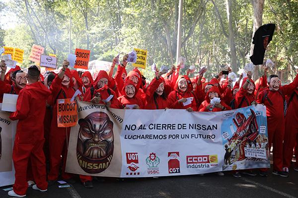 Trabajadores de Nissan en Barcelona durante las últimas manifestaciones celebradas en Madrid. Foto: Europa Press.