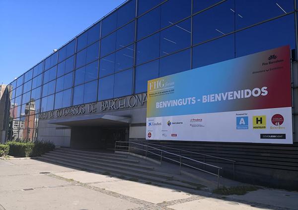 Vista del Palau de Congressos de Barcelona, en Montjuïc, con el cartel de la feria que arranca el lunes. Foto: Fira de Barcelona.