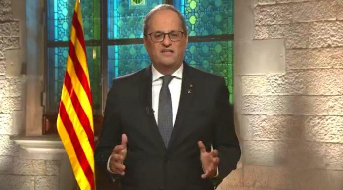 El presidente Torra en un momento de su discurso institucional por la Diada.