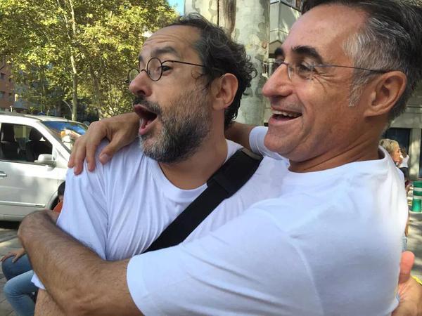 Ramón Tremosa con el ex cupaire Antonio Baños.