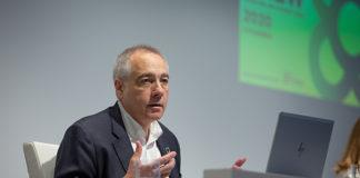 Pere Navarro, delegado del Estado en el Consorci de la Zona Franca, durante la presentación de la primera BNEW.