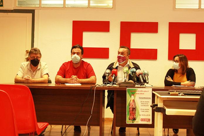 Trabajadores de la planta embotelladora de Coca-Cola en Málaga durante las protestas por el ERE presentado en octubre del año pasado. Foto: Europa Press.