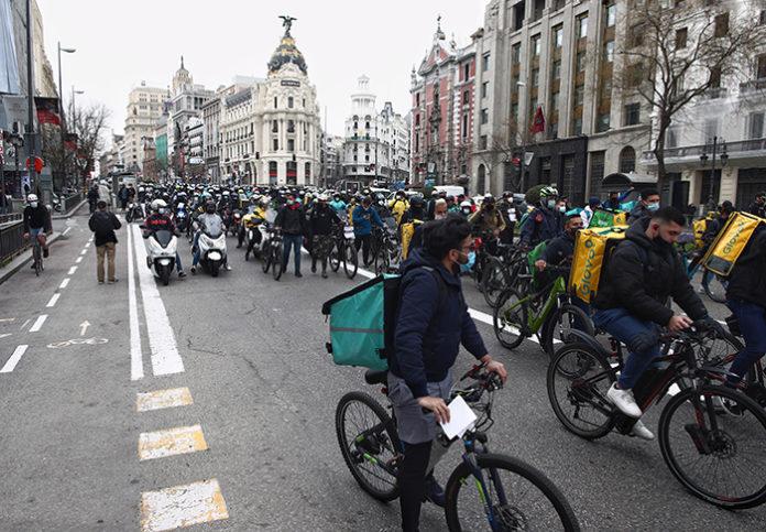 Más de 2.000 riders participaron en una manifestación a principios de marzo en Madrid. Foto: Europa Press.