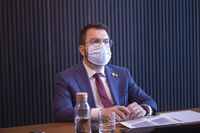 Pere Aragonès, presidente de la Generalitat de Catalunya, durante la reunión del Consell del Diàleg Social de finales de enero. Foto: Europa Press.