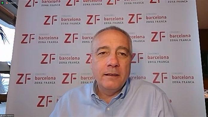Pere Navarro, delegado del Estado en el Consorci de la Zona Franca, durante la sesión virtual. Foto: El Consorci.