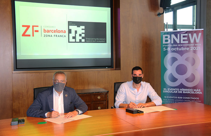De izquierda a derecha: Pere Navarro, delegado del Estado en el Consorci, junto a Miquel Vicente, presidente de Tech Barcelona. Foto: el Consorci.