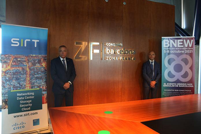 Pere Navarro y David Garriga durante la firma del acuerdo entre el Consorci y Sirt. Foto: el Consorci.