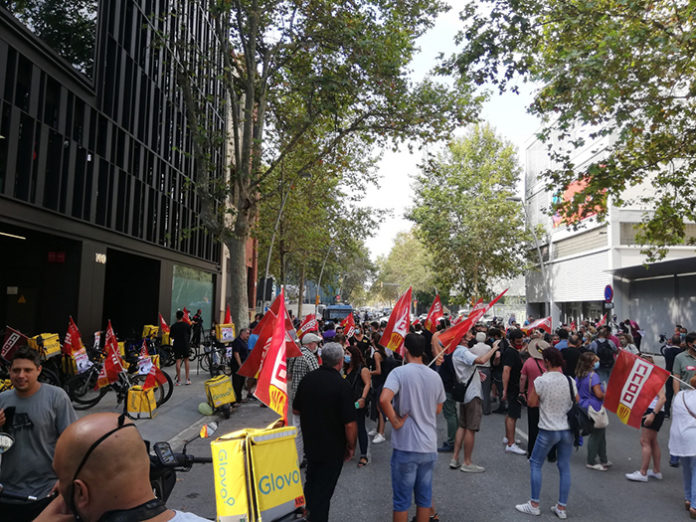 Trabajadores concentrados durante la huelga del día 27. Foto: Europa Press.